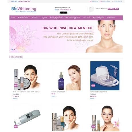 Biowhitening|ecommerce website development|Mobile App Development|web design and web hosting and website designing